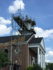 Mr. Roof workers make headway on steeple repairs at
