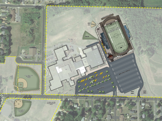 A Rettler Corporation rendering of the athletic upgrades at Marshfield High School. The upgrades include a new field for football and soccer, as well as new baseball and softball fields.
