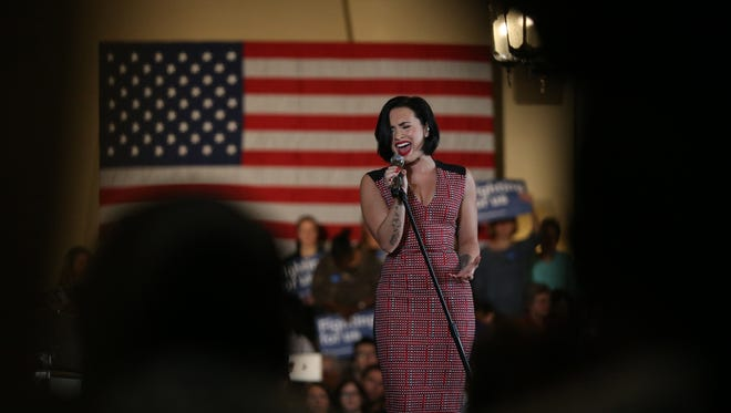 Musical artist, Demi Lovato performs at a Hillary Clinton campaign event at the Iowa Memorial Union in Iowa City, on Thursday, Jan. 21, 2016.
