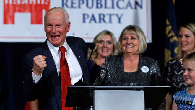 In this Nov. 8, 2016, file photo, Dennis Richardson, Oregon Republican Secretary of State candidate, pumps his fist at an election night event at the Salem Convention Center in Salem.