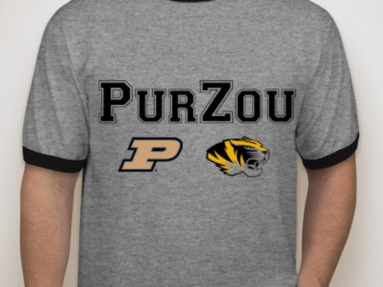 T-shirt members of Sparks family will be wearing Saturday to watch Jared (Purdue) and Adam (Missouri)  when the two teams play in Columbia, Missouri