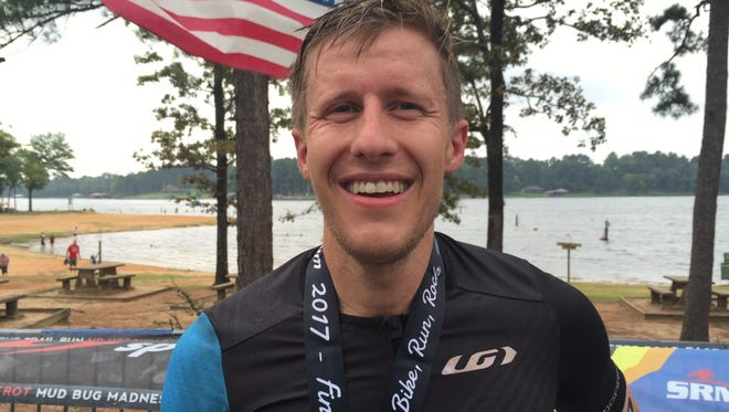Clay Emge won the 2017 River Cities Triathlon on Sunday.