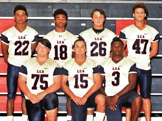 Lafayette Christian Knights' defensive standouts include: free safety Trey Breaux (22),   cornerback Carrington Hall (18), defensive lineman Bear Lyons (26), linebacker Jaylen Dauphin (47),   lineman Nicholas Ancelet (75), linebacker Tanner Guinn (15) and linebacker Martin Lee III (3).