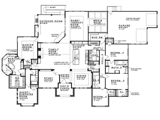 The one-story layout is designed for accessibility,