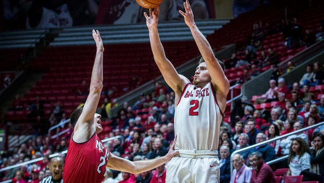 Ball State's Tayler Persons shoots past Miami's defense during their game at Worthen Arena Tuesday, Jan. 10, 2016.