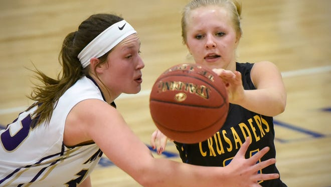 Cathedral's Abbey Medelberg makes a pass around Melrose's Makiya Luetmer during the first half Dec. 28 at Cathedral. Cathedral is the top seed in East Sub-Section 6-2A.