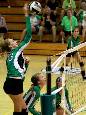 Newark Catholic freshman Shannon Keck spikes Saturday in a scrimmage against Hilliard Davidson during the Licking County Preview.