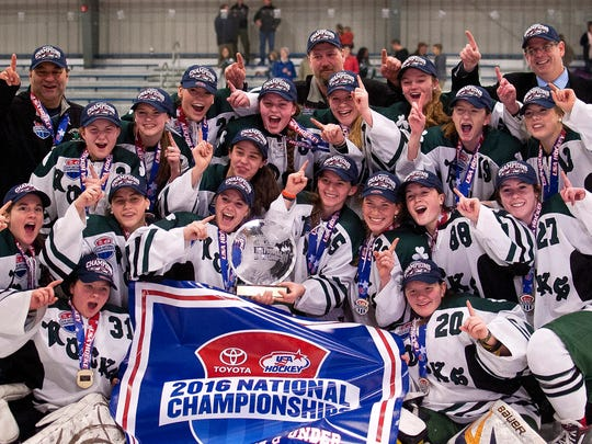 The Vermont Shamrocks U-19 team celebrates its USA Hockey Tier II national championship victory over the Connecticut Northern Lights at Cairns Arena on Monday.