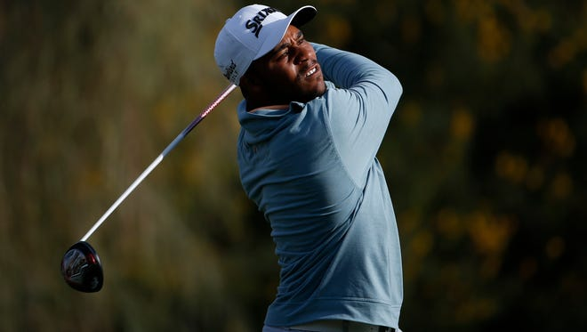 Harold Varner III tees off on the second hole during the first round of the Waste Management Phoenix Open at TPC Scottsdale on Feb. 4, 2016.