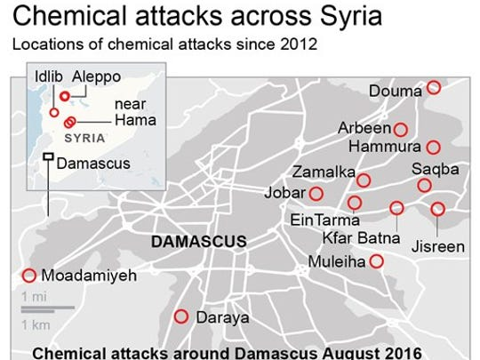 Chemical attacks in Syria since 2012
