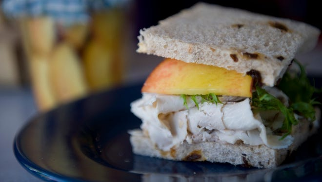 Turkey with arugula, peaches and walnut mayo during last year's Just Peachy event in Collingswood.