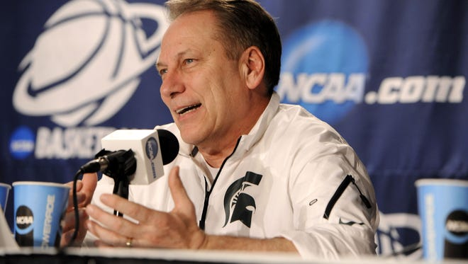 MSU head coach Tom Izzo answers questions during news conferences at New York's Madison Square Garden Saturday March 29, 2014.