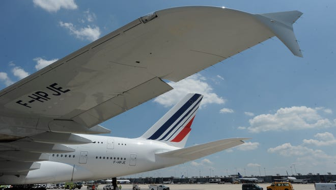 Air France's first A380 flight to Washington Dulles Airport arrives from Paris in June 2011.