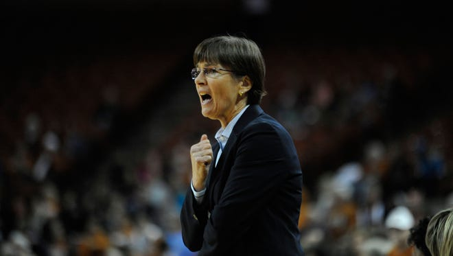 Stanford Cardinal head coach Tara Vanderveer reacts against the Texas Longhorns during the first half at the Frank Erwin Center.