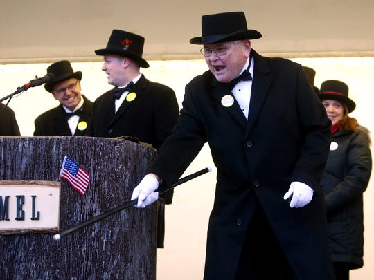 Milltown Mel again makes his annual prediction on Groundhog Day at the American Legion in Milltown, NJ. Milltown Mel did not see his shadow this morning, according to folklore,  the spring season will arrive early. The event is in its tenth year. February 2, 2018. Milltown, NJ.