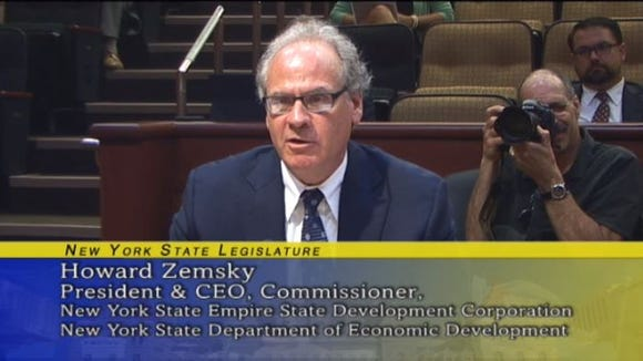 Empire State Development President & CEO Howard Zemsky speaks during a hearing Wednesday on the state's economic-development programs.
