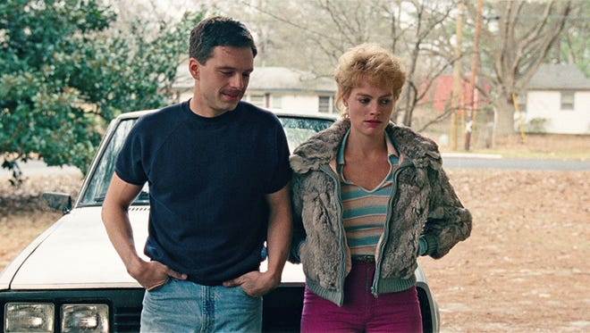 "Jeff Gillooly (Sebastian Stan) and Tonya Harding (Margot Robbie) begin dating in ""I, Tonya."""