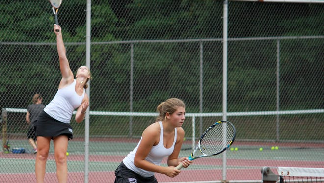 Rumson's Katie Foos and Phoebe Short won the first doubles championship at the 2014 Monmouth County Tournament.
