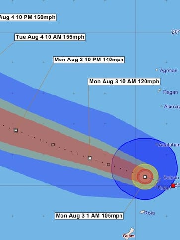 Typhoon Soudelor tracking graphic issued early Monday.