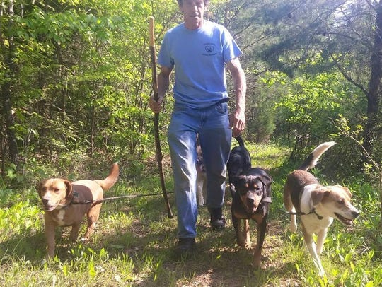 Stephen Blackwell hiking with dogs.
