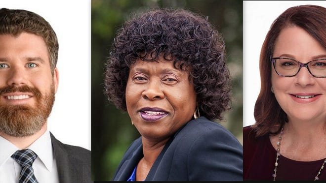 Candidates for 7th Circuit Judge, Group 14, are, from left: Daniel Hilbert, Joan Anthony and MaryEllen Osterndorf