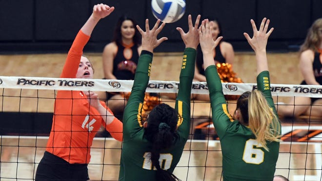 Pacific' s Lucy Carpenter shoot one past the reach of USF's Kathya Garcia(10) and Katie Wagstaff (60) during the first game Oct. 24, 2019, at Spanos Center.