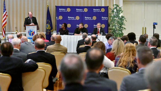 Kim Bracey, Dave Moser and Michael Helfrich participate in a York mayoral candidate debate hosted by the Rotary Club of York Wednesday, Nov. 1, 2017, at the Country Club of York. The three candidates — Democratic incumbent Kim Bracey, Republican candidate Michael Helfrich and Libertarian candidate Dave Moser — are running for mayor of York in the Nov. 7 election.