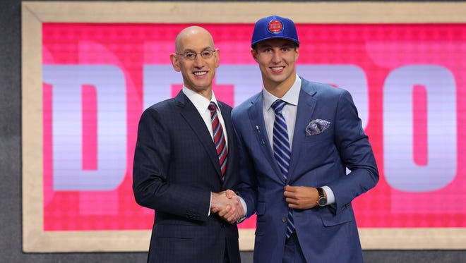 Luke Kennard (Duke) is introduced by NBA commissioner Adam Silver as the No. 12 overall pick to the Detroit Pistons in the first round of the 2017 NBA Draft at Barclays Center.