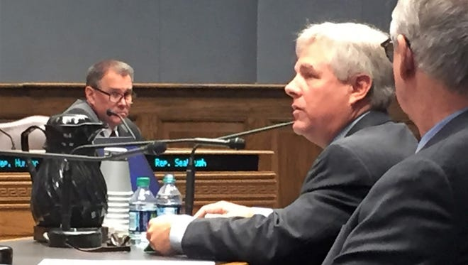 Sponsors Rep. Gregory Cromer, R-Slidell, and Rep. Larry Bagley, R-Stonewall, right, present House Bill 187 to the House Ways and Means Committee on Monday. Credit: