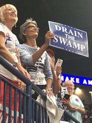 Supporters of Donald Trump cheer for the president