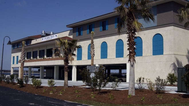 Exterior view of the Grand Marlin Restaurant & Bar located on the Pensacola Beach side of the Bob Sikes Bridge.