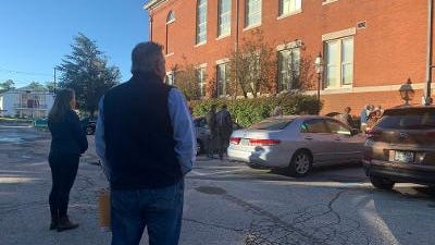 The line outside Warwick City Hall on Wednesday as voters waited to get in.