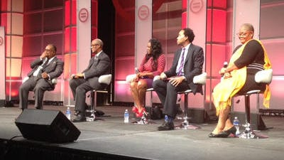 From left, panelists Charles Steele Jr., Calvin Smyre, Alicia Reece, David J. Johns and Melanie Campbell discuss the 50th anniversary of the Civil Rights Act of 1964 on Thursday during the National Urban League Conference.