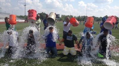 Taking the Ice Bucket Challenge at Winton Woods High School were, from left, Antonio Harrison, Raysean Godson, Kevin Jones, Jermaine Hill, De'Vonte Montgomery and Will Fountain.