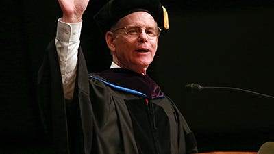 United States Bankruptcy Judge, Eastern District of Michigan-Detroit, Steven W. Rhodes gives the keynote address during the 104th Walsh College commencement at Zion Christian Church in Troy, Mich. on Saturday, Jan. 24, 2015.