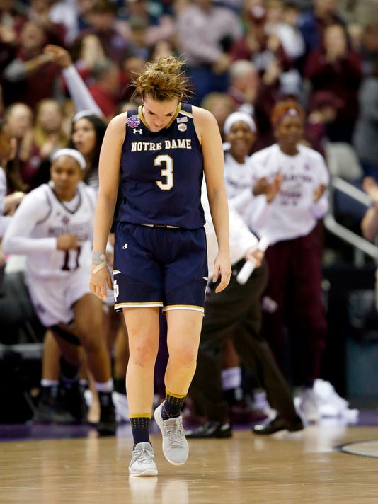 Notre Dame's Marina Mabrey (3) pauses during the first half against Mississippi State in the final of the women's NCAA Final Four college basketball tournament, Sunday, April 1, 2018, in Columbus, Ohio. (AP Photo/Ron Schwane)