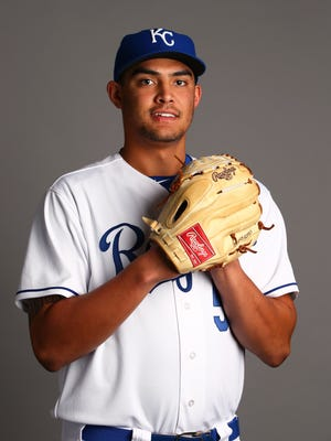 Feb. 27, 2015; Surprise; Kansas City Royals pitching Sean Manaea was traded to the Oakland Athletics during the 2015 season.