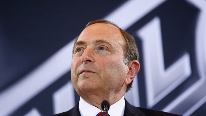 NHL Commissioner Gary Bettman speaks during a news conference Wednesday, June 22, 2016, in Las Vegas. Bettman announced an expansion franchise to Las Vegas after the league's board of governors met in Las Vegas.