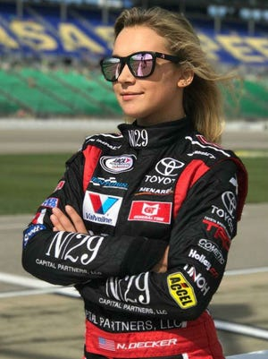 Natalie Decker, 20, from Eagle River, Wisc., is a favorite in the ARCA Series Music City 200 Saturday night at Fairgrounds Speedway Nashville.