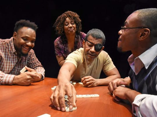 """Black Theatre Troupe's """"Broke-ology"""" stars (from left)"""