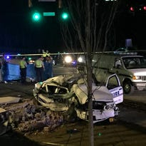 Multiple agencies responded the scene after a stolen police cruiser wrecked on Verdae Boulevard.