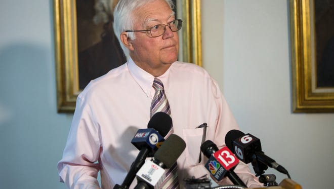 Steve Wittenauer speaks with the media Aug. 3 about the busing issues and financial issues of the Muncie Community School district.