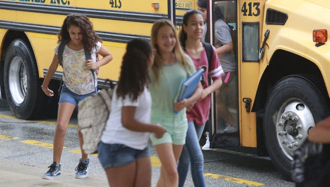 Students embark on their first day of school at Anne M Doerner Middle School in Ossining, Sept. 1, 2016.