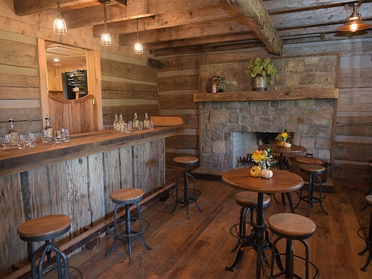 The Leipers Fork Distillery tasting room is located in a 200-year-old log cabin.