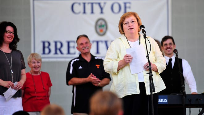 Brentwood City Mayor Betsy Crossley speaks during the WannaBeatles concert on stage at Crockett Park in Brentwood, Tenn., Sunday, June 15, 2014.
