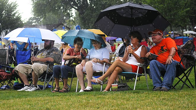 People wait out the rain at Summertime by George! on July 15 at Lake George.