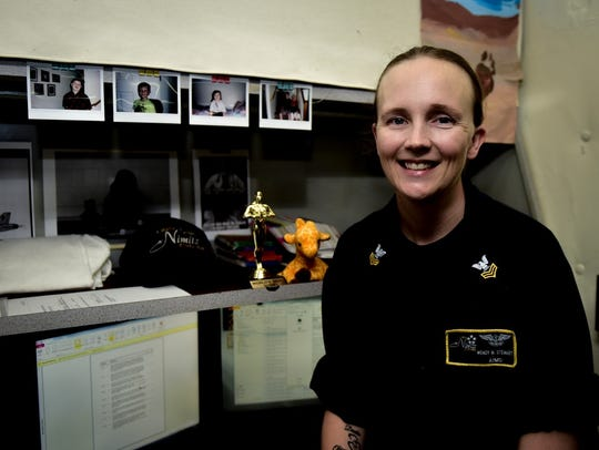 Aviation Electrician's Mate 1st Class Wendy Stewart, from Olympia, Wash.