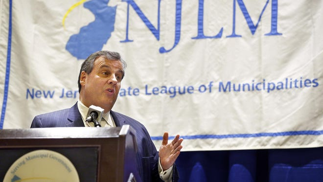 Gov. Chris Christie delivers remarks during the New Jersey League of Municipalities conference in Atlantic City Thursday.