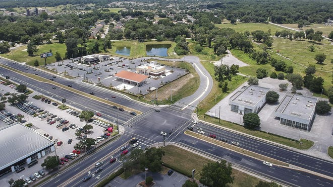 Gov. Ron DeSantis has vetoed $1 million earmarked for one leg of the City of Ocala's Southwest 44th Avenue extension, which connects the Southwest 42nd Street flyover to Southwest 20th Street. This aerial shows traffic at State Road 200 and Southwest 42nd Street. At the top of this picture is where the extension dead ends until funding is acquired.