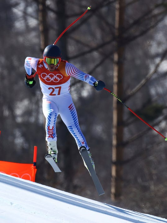 United States' Ted Ligety skis during the downhill portion of the men's combined at the 2018 Winter Olympics in Jeongseon, South Korea, Tuesday, Feb. 13, 2018. (AP Photo/Alessandro Trovati)